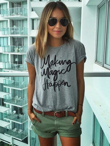 Women Daily Letter Print T-shirts