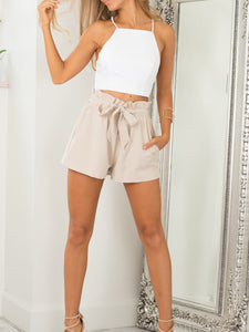 High Waist Plus Size Short Casual Ruffle Short With Belt