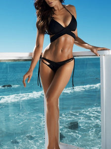 Wrap Halterneck Top With Tie Up Side Bikini Set