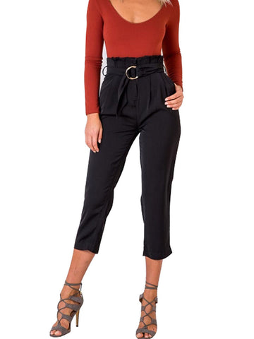 Vintage High Waist Casual Crop Pants With Belt