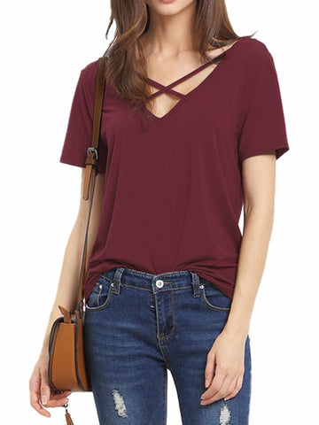 Cross Strap Daily T-shirts For Women