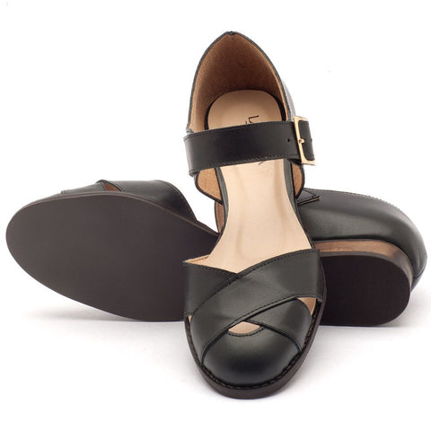 Black Low Heel Sandals PU Leather Shoes With Buckle