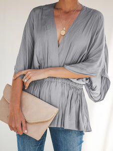 Solid Elastic Waist Bat Sleeve Blouse