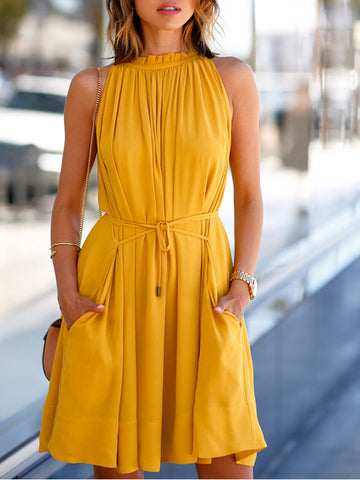 Women Yellow Sleeveless Dresses Casual Mini Dresses
