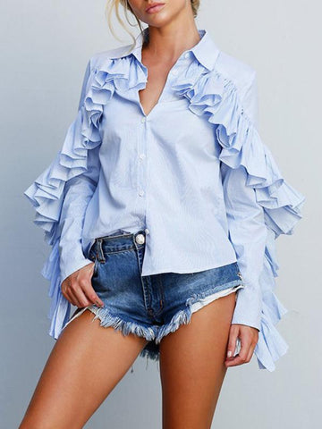 Women Casual Falbala Long Sleeve Stripe Blouse Shirts