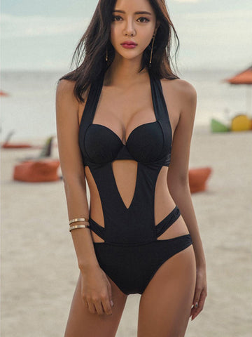 Women Sexy Bandage Hollow Gather Black One Piece Swimwear