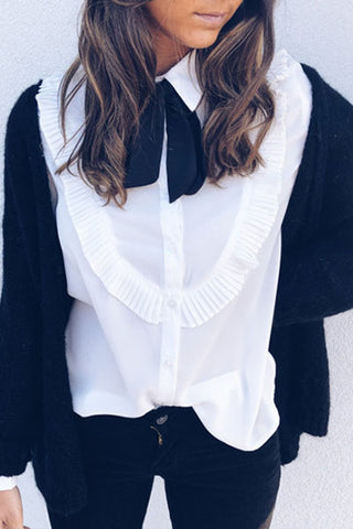 Women Tie Frill Trim Chiffon White Blouse