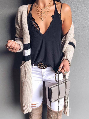 Women Striped Loose Mid-length Knit Cardigan Casual Coats