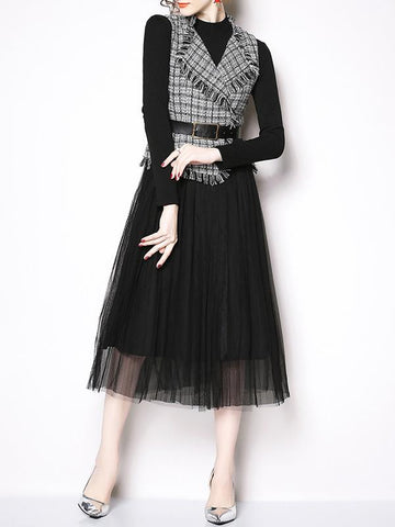 Women Vintage Stitching Dress Two-Piece dresses