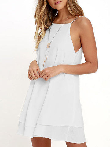 Women Off Shoulder Shouder-straps Chiffon Sexy Loose Large Size Mini Dress