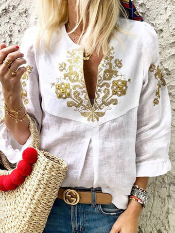 Women V neck Casual Tribal Printed Frill Sleeve Blouse