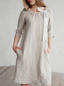Women Summer Casual Solid Linen Dress