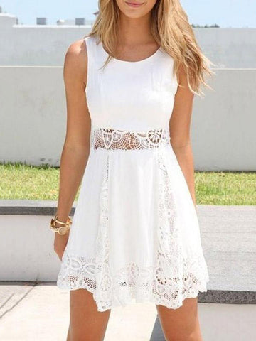 White Dress Women Fashion Sleeveless Dress Mini Dresses