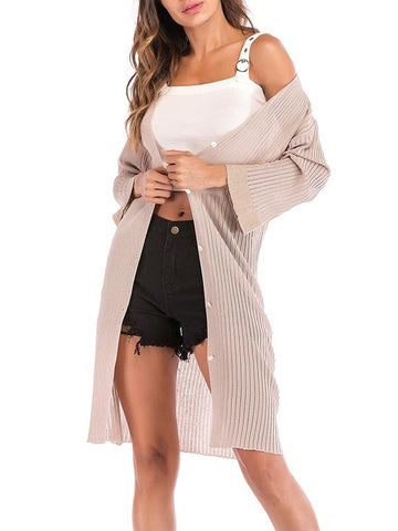 Women Plain Long Sleeve Cardigan Coats