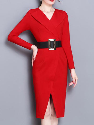 Women Daily Workwear Long Sleeve Dress Sexy Slim Pencil Dresses