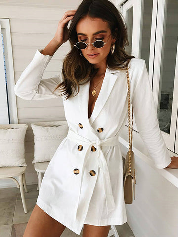 Surplice Neckline Sexy Belted Trench Coat White