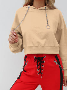 Women Casual Cropped Hoodie Tops