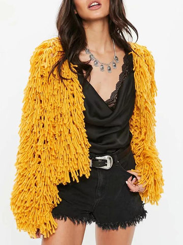 Women Plain Tassel Pattern Cardigan Coat