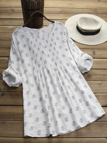 Women Daily Printed Linen Cotton Dresses