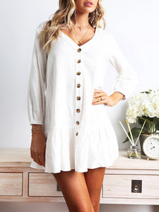 Women Casual Button-down Pleated Mini Dresses