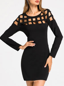 Black Women Hollow-out Bodycon Dresses