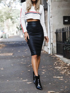 Women's Sexy PU Leather Bodycon Skirt Package Hip Skirts