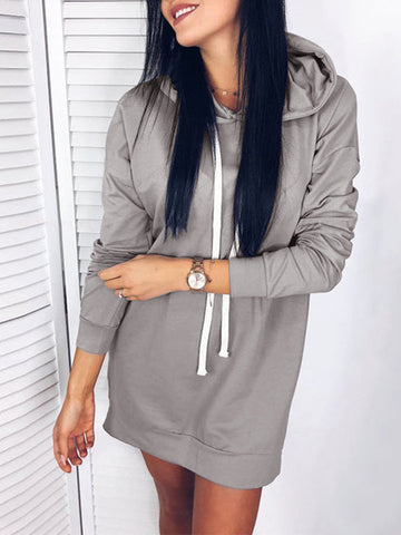 Daily Casual Long Hoodie Tops For Women