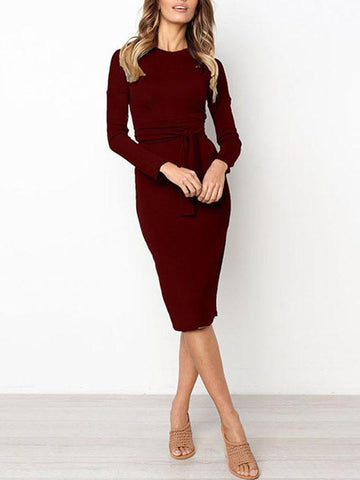 Women Daily Casual Long Sleeve Solid Dress with Waist Belt