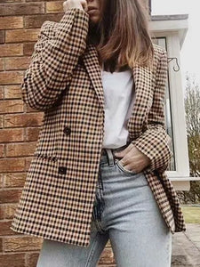 Tartan Printed Coat Women's Blazers