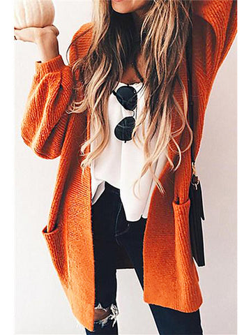 Women Casual Plain Knitted Cardigan Sweater Coats