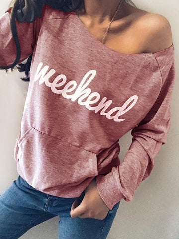 Letter Print Casual Pullover Sweatshirts