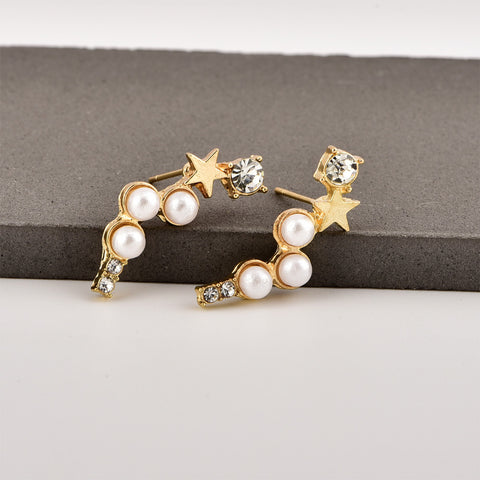 Fashion Faux Pearl Star Shape Stud Earrings 1pair