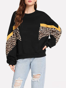 Fashion Leopard Long Sleeve Sweatshirts For Women