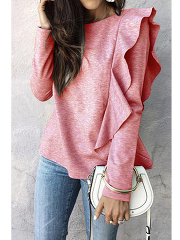 Women's Solid Color Long Sleeve Flounce Pullover Tops