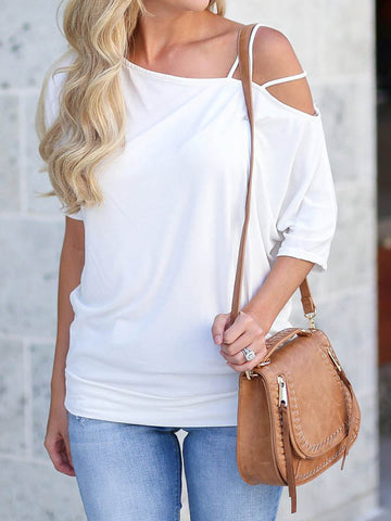 Sexy Oblique Shoulder Strappy T-shirt Slim Tops