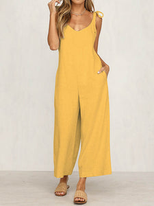 Casual Sleeveless Plain Jumpsuit Loose Pants Siamese Trousers