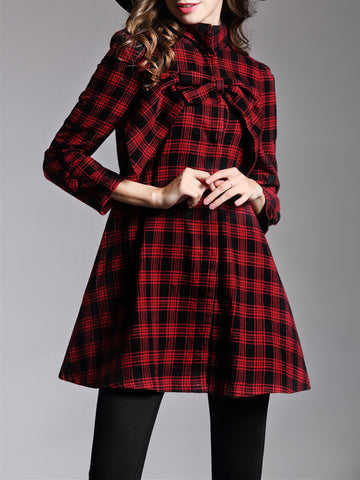 Women Long Sleeve Bowknot Loose Plaid Women's Coat