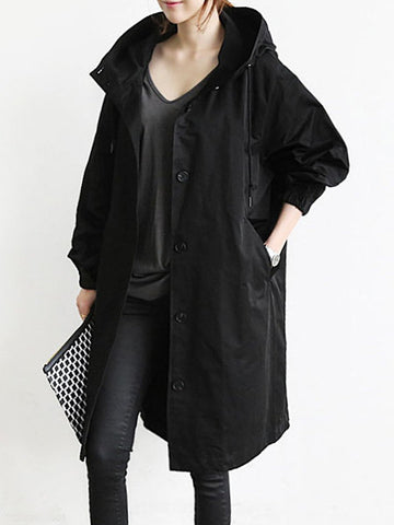 Women Oversized Hooded Flap Pocket Plain Longline Coat
