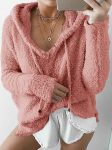 Women Casual Solid Fluffy Long Sleeve Hoodie