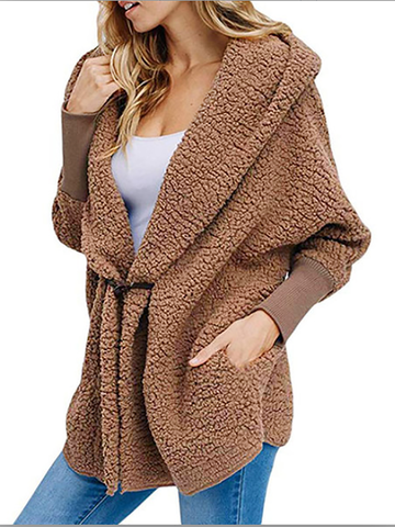 Wool Fuzzy Cashmere Ribbed Cuffs Sleeve Coats with Pockets For Women