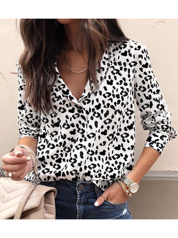 Women Casual Long Sleeve Leopard Printed Blouse Women's Shirts