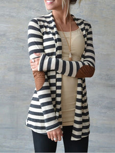 Women Paneled Long Sleeve Lycra Shawl Collar Cardigan