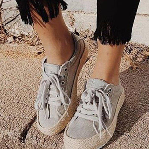 Womens Casual Canvas Lace-Up Flat Heel Sneakers