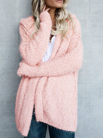 Women Solid Long Sleeve Hoodie Fluffy Coat