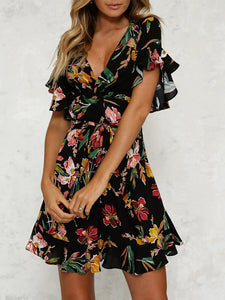 Women Casual V-neck Floral Dresses