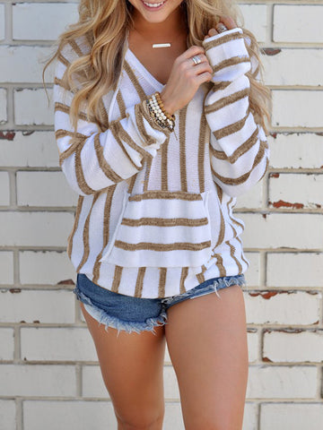 Women Stripe Knitted Sweatshirts Pullover Tops