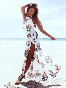 Women Floral Printed Chiffon Long Dress Holiday Dresses