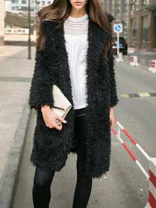 Women Solid Lapel Collar Fluffy Warm Coat