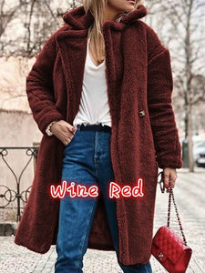Women Shawl Collar Shift Long Sleeve Solid Faux fur Coat