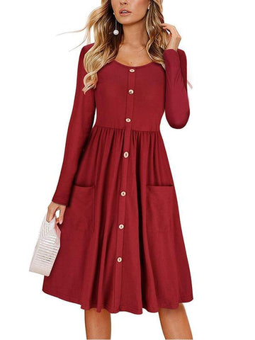 Women Daily Casual V-neck Solid Color Half Sleeve Button-down Dress